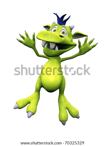 A cute, friendly cartoon monster jumping for joy. The monster is green with blue hair. White background.