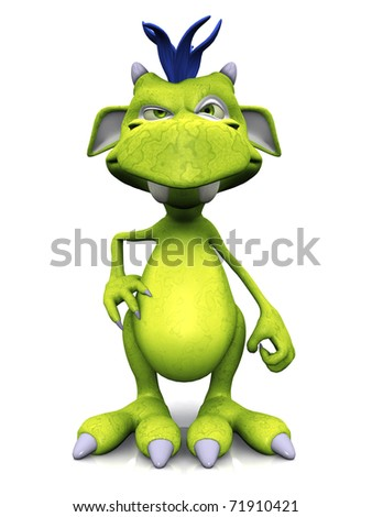 A cute friendly cartoon monster looking very annoyed. The monster is green with blue hair. White background.