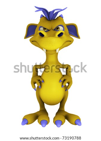 A cute friendly cartoon monster looking very annoyed. The monster is yellow with purple hair. White background. - stock photo