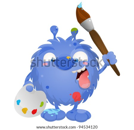 A cute friendly monster holding a paint brush and an artist palette - stock photo