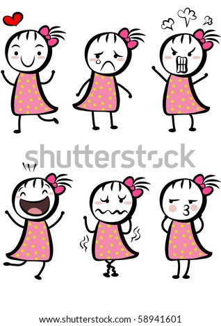 a cute girl with different expressions - stock photo