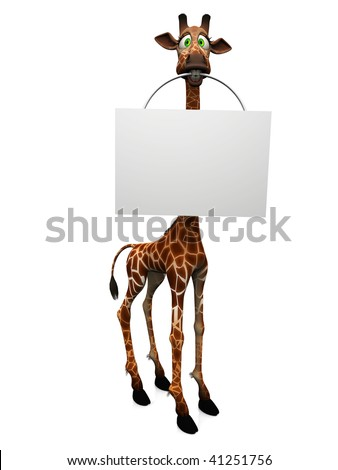 A cute, goofy cartoon giraffe holding a blank sign in its mouth, white background.