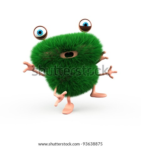 A cute green furry monster almost falling on the floor - stock photo