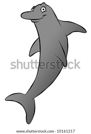 A cute, grinning cartoon dolphin. Could be swimming or jumping.