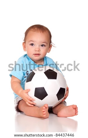 A cute image of a Hispanic baby holding a soccer ball.  Image is isolated on white with a reflection.