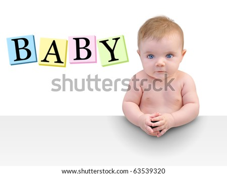 A cute little baby boy or girl is sitting seriously at a table with their hands folded. There is copyspace to add your message on a white background. Use it for a parenting or education concept. - stock photo