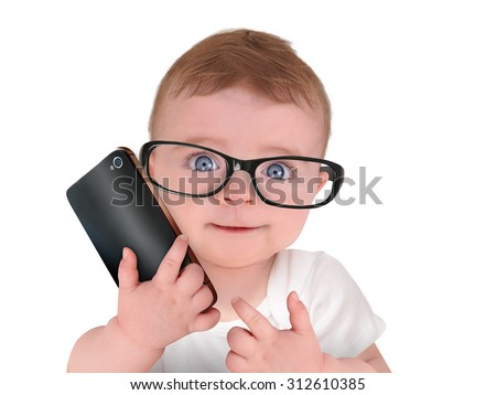 A cute little baby is wearing eye glasses and talking on a cell phone on an isolated white background for a humor or communication concept. - stock photo