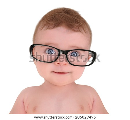 A cute little baby is wearing eye glasses on a white isolated background for education or vision concept. - stock photo