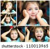 A cute little girl making funny faces - stock photo