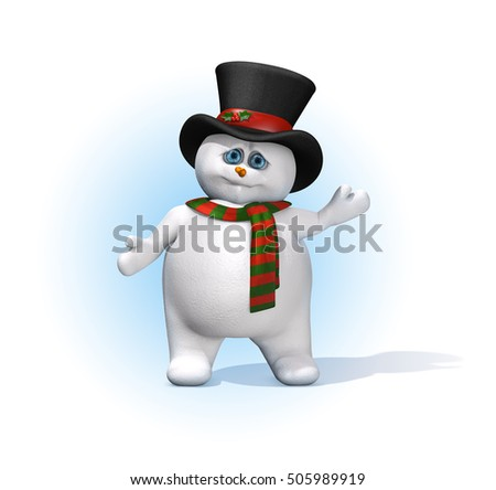 A cute little snowman dressed in Christmas colors with a sprig of holly on his hat - 3D render.