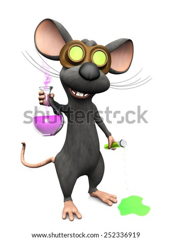A cute mad laughing cartoon mouse wearing glasses and doing a science experiment. He is holding a beaker with smoke coming out from it and a test tube which is dripping on the floor. White background. - stock photo