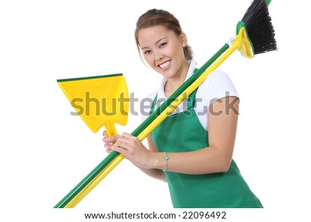 A cute maid cleaner with broom and cleaning supplies - stock photo