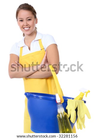 A cute maid cleaner woman with cleaning supplies - stock photo