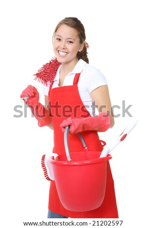 A cute maid woman cleaner with cleaning supplies and bucket