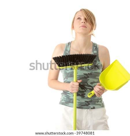 A cute maid woman cleaner with cleaning supplies and bucket - stock photo