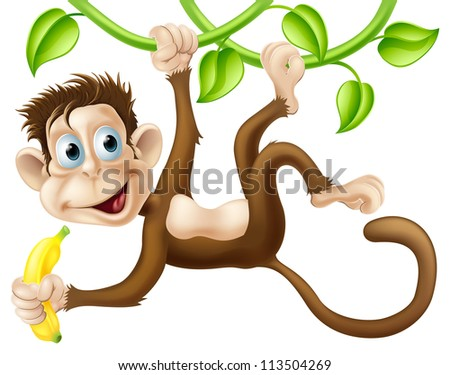 A cute monkey swinging from vines with a banana in his hand - stock photo