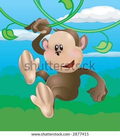 A cute monkey swinging through the trees. Raster version - stock photo