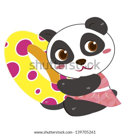 a cute panda and his life preserver - stock photo