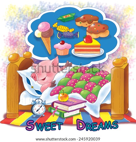 A cute pig sleeping in its bed, watching sweet dreams. Illustration for children, best for greeting card. Abstract background   - stock photo