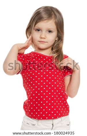 A cute preschool girl on the white background - stock photo
