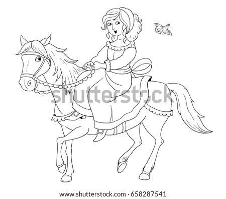 Girl riding horse series wild west stock vector 92794426 for Princess riding a horse coloring pages