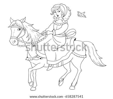 Girl Riding Horse Series Wild West Stock Vector 92794426