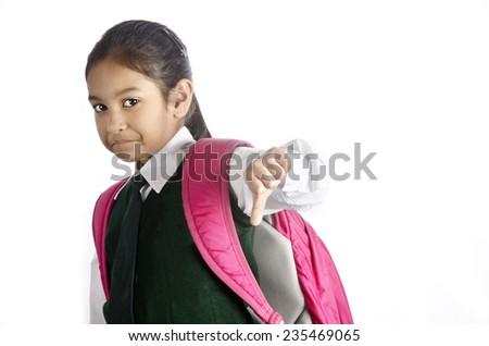 A cute school girl - stock photo