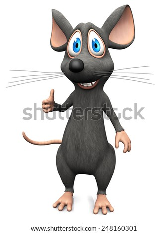 A cute smiling cartoon mouse doing a thumbs up with his hand. White background. - stock photo