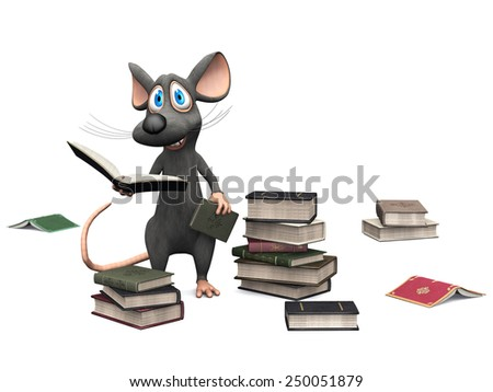 A cute smiling cartoon mouse holding a book in his hand. Several piles of books are on the floor  around him. White background. - stock photo