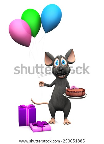 A cute smiling cartoon mouse holding three colorful balloons in one hand and a birthday cake in the other. Presents are on the floor. White background.