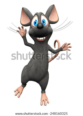 A cute smiling cartoon mouse jumping for joy. White background. - stock photo