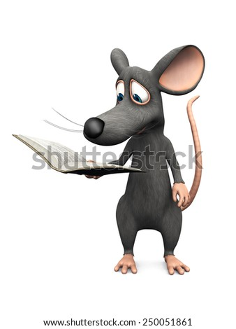 A cute smiling cartoon mouse reading a book he is holding in his hand. White background. - stock photo