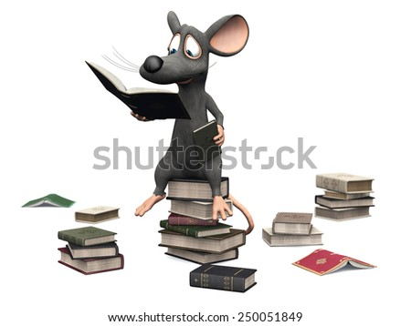 A cute smiling cartoon mouse sitting on a pile of books and reading. Several piles of books are on the floor around him. White background. - stock photo