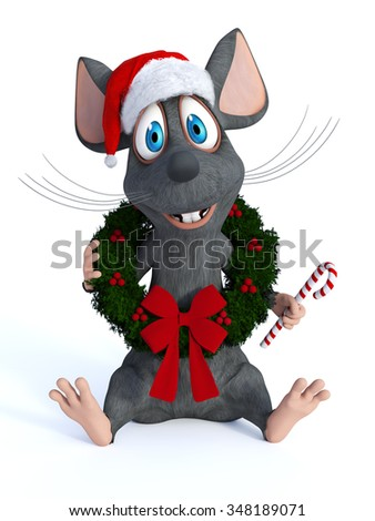 A cute smiling cartoon mouse sitting on the floor with a Christmas wreath around his neck, wearing a Santa hat and holding a candy cane in his hand. White background. - stock photo