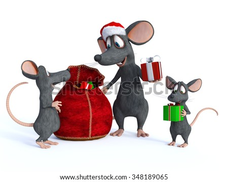 A cute smiling cartoon mouse wearing a Santa hat and handing out Christmas gifts from a bag. Two little mice children are receiving the presents. White background. - stock photo