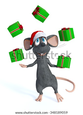 A cute smiling cartoon mouse wearing a Santa hat and juggling Christmas gifts with his hands. White background. - stock photo