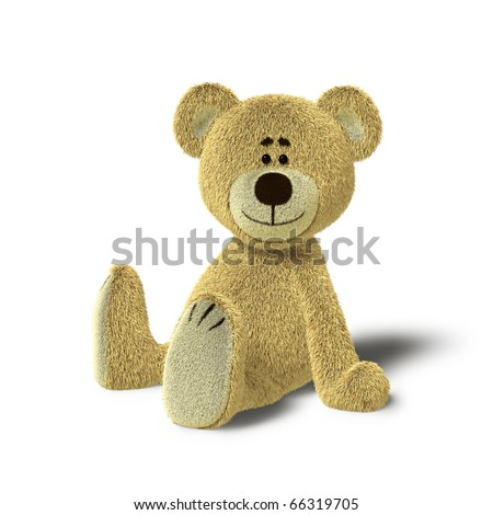 A cute teddy bear is sitting on the floor, supporting himself with both hands. He looks towards the camera and smiles. The image is isolated on white background with soft shadows. - stock photo