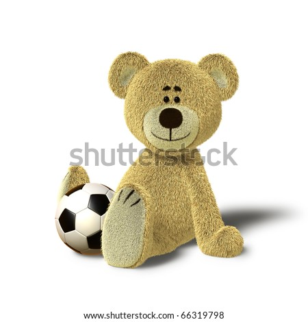 A cute teddy bear is sitting on the floor, supporting himself with both hands. He looks towards the camera and smiles. In front of him, between his legs there is a soccer ball. - stock photo