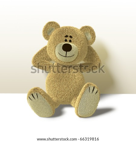 A cute teddy bear relaxes sitting on the floor,leaning against a wall while folding his arms behind his head. He looks towards the camera and smiles. Side view also available. - stock photo
