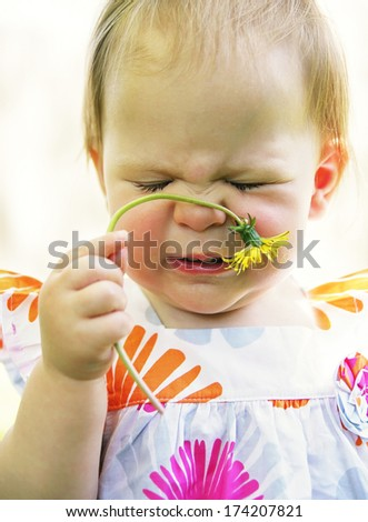 a cute toddler sniffing a dandelion and making a face - stock photo