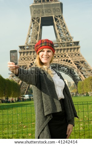 A cute tourist in Paris - stock photo
