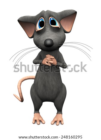 A cute upset cartoon mouse with very big sad eyes. White background. - stock photo