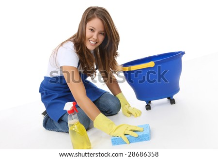A cute woman maid cleaner with sponge and spray - stock photo