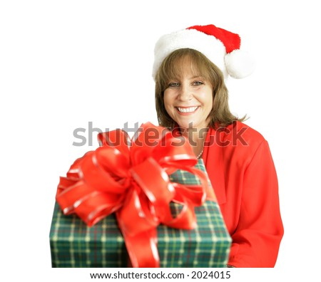 A cute woman with a Christmas gift for you.  Isolated on white.