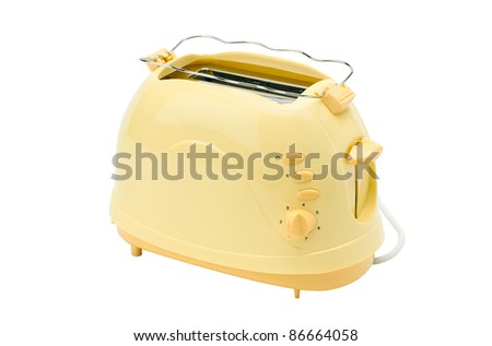 A cute yellow bread toaster, the kitchenware you need for breakfast - stock photo