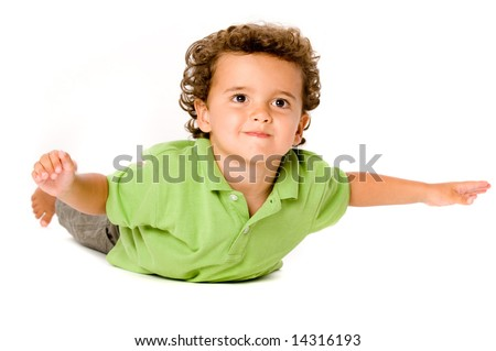 A cute young boy on white background