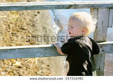 a cute young child is standing outside on a bridge by a lake shore on the beach, looking out at the water
