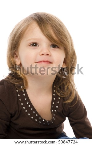 a cute young child shot on a white background