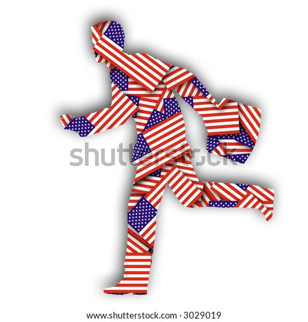 A cutout of a running businessman holding a briefcase with a US flag texture