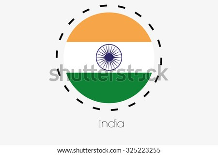 A Cutout Outline with the flag of India
